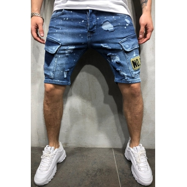 Lovely Casual Patchwork Deep Blue Shorts