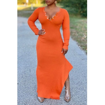 Lovely Casual V Neck Skinny Jacinth Floor Length Dress