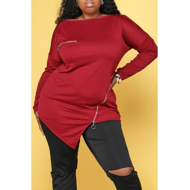 Lovely Casual Zipper Design Wine Red Plus Size Hoodie