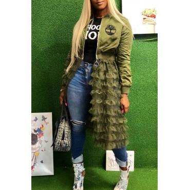 Lovely Casual Ruffle Design Army Green Coat