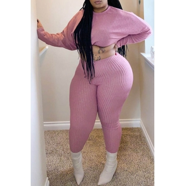 Lovely Casual Basic Crop Top Pink Plus Size Two-piece Pants Set