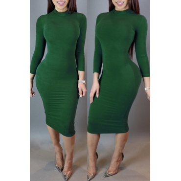 Lovely Leisure Skinny Green Knee Length Dress