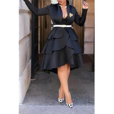 Lovely Sweet V Neck Flounce Design Black Knee Length Dress(Without Belt)