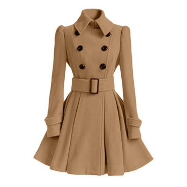 Lovely Casual Buttons Design Khaki Trench Coat