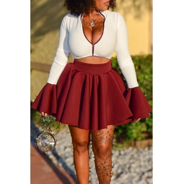 Lovely Casual Zipper Design Wine Red Two-piece Skirt Set