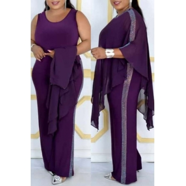 Lovely Casual Cloak Design Purple Plus Size Two-piece Pants Set