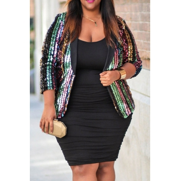 Lovely Casual Striped Multicolor Plus Size Blazer