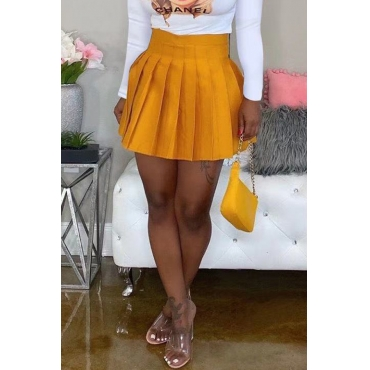 Lovely Casual Ruffle Design Yellow Mini Skirt