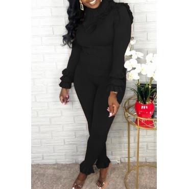 Lovely Sweet Turtleneck Flounce Design Black Two-piece Pants Set