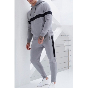 Lovely Sportswear Patchwork Grey Two-piece Pants Set