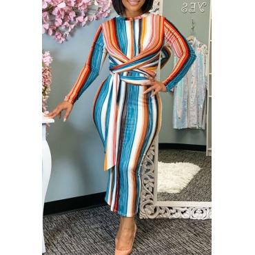 Lovely Trendy Striped Multicolor Ankle Length Dress