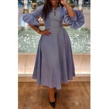 Lovely Sweet Striped Blue Ankle Length Dress