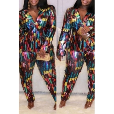Lovely Trendy Color-lump Patchwork Multicolor Plus Size Two-piece Pants Set