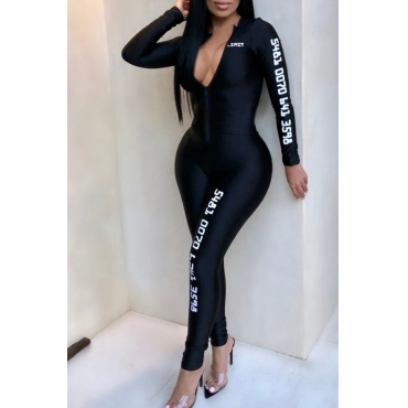 Lovely Casual Letter Printed Skinny Black One-piece Jumpsuit