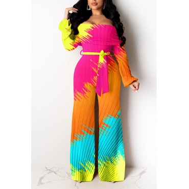 Lovely Leisure Printed Loose Multicolor Two-piece Pants Set