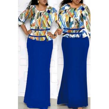 Lovely Casual Printed Dark Blue Floor Length Plus Size Dress