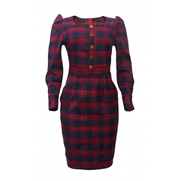 Lovely Sweet Plaid Printed Red Knee Length Dress