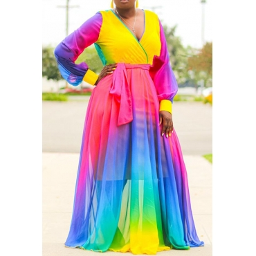 Lovely Casual V Neck Patchwork Purple Floor Length Plus Size Dress