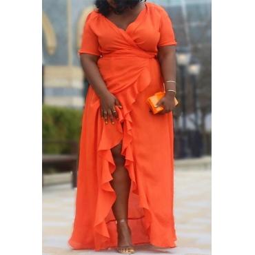 Lovely Casual Flounce Patchwork Orange Floor Length Plus Size Dress