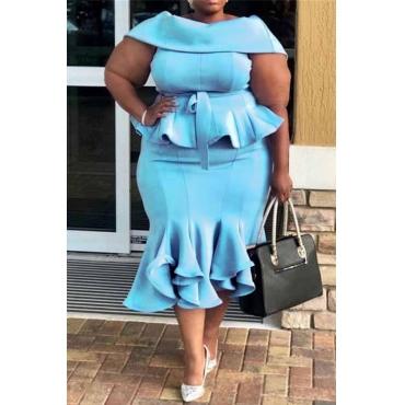 Lovely Casual Flounce Design Blue Mid Calf Trumpet Mermaid  Plus Size Dress