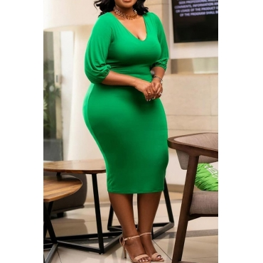Lovely Casual V Neck Skinny Green Mid Calf Plus Size Dress