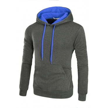 Lovely Trendy Hooded Collar Patchwork Dark Grey Hoodie