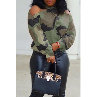Lovely Casual Halter Camouflage Printed Blouse