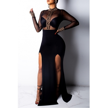 Lovely Sexy See-through Patchwork Black Trailing Dress(Without Lining)