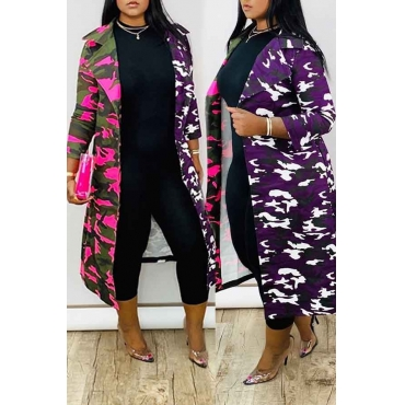 Lovely Casual Camo Purple Trench Coat