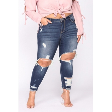 Lovely Casual Hollow-out Deep Blue Plus Size Jeans
