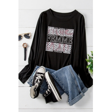 Lovely Casual O Neck Printed Black Plus Size T-shirt