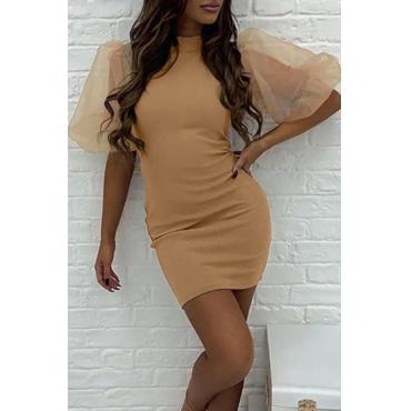 Lovely Sweet O Neck Patchwork Khaki  Mini Dress