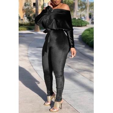 Lovely Casual Dew Shoulder Black One-piece Jumpsuit