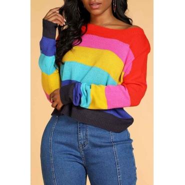 Lovely Trendy Rainbow Striped Sweater