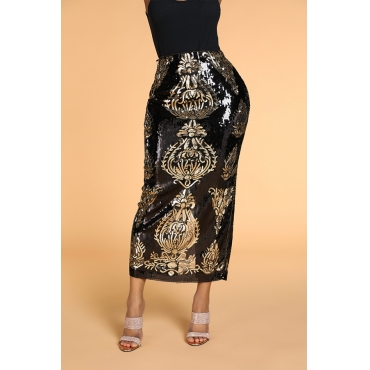 Lovely Trendy Embroidered Black Ankle Length Skirt