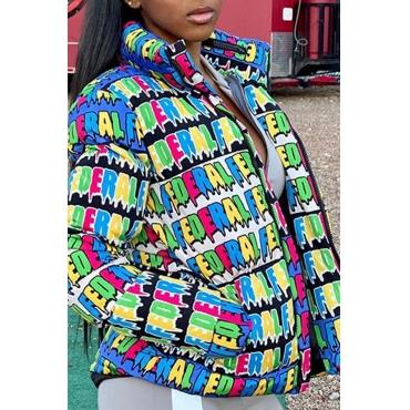 Lovely Leisure Letter Multicolor Winter Coat