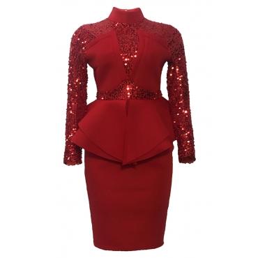 Lovely Sweet Patchwork Flouncek Red Knee Length Evening Dress