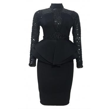 Lovely Sweet Patchwork Flounce Black Knee Length Evening Dress