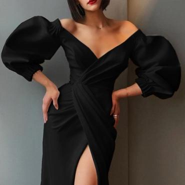 Lovely Sweet V Neck Cross-over Design Black Ankle Length Evening Dress