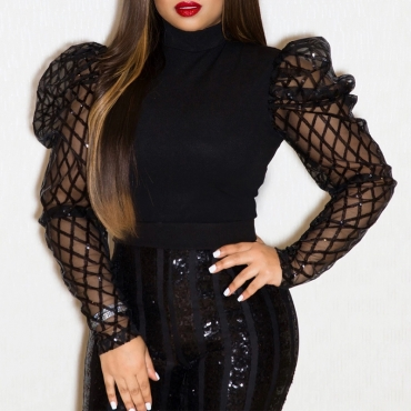 Lovely Chic Turtleneck Hollow-out Black Blouse
