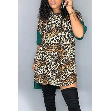 Lovely Stylish Patchwork Leopard Blackish Green Mini Dress