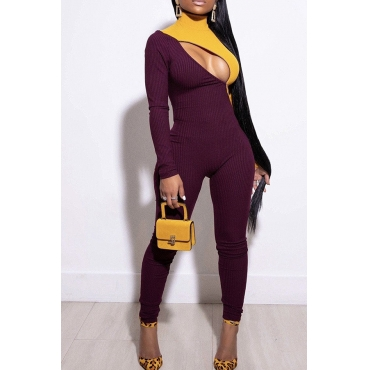 Lovely Trendy Patchwork Hollow-out Wine Red One-piece Jumpsuit