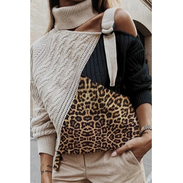 Lovely Casual Turtleneck Patchwork Black Sweater
