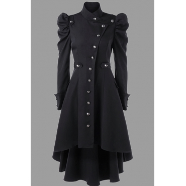 Lovely Work Buttons Design Black Plus Size Coat