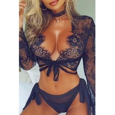 Lovely Sexy Lace-up Black Bra Sets