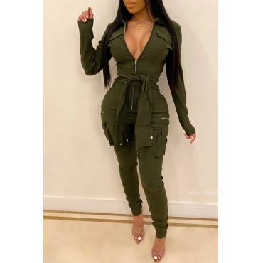 Lovely Leisure Knot Design Army Green One-piece Jumpsuit
