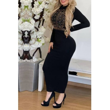 Lovely Trendy Hot Drilling Decorative Skinny Black Ankle Length Dress