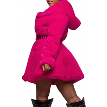 Lovely Casual Hooded Collar Rose Red Hoodie