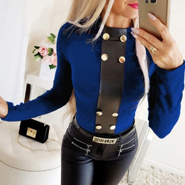 Lovely Casual Buttons Design Blue T-shirt