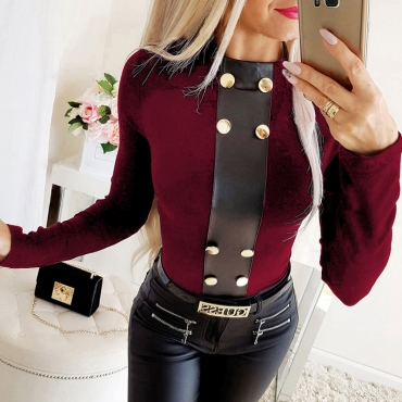 Lovely Casual Buttons Design Wine Red T-shirt